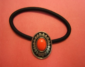 Free Shipping*, Mens, Womens, Ponytail Holder, Hair Jewelry, Hair Elastics, Indian Style, Boho, pewter, antique finish, coral, #80109-10