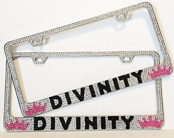 custom bling license plate frame customized license plate frame bling car accessories message me for custom order