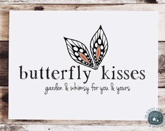 Hand Drawn Premade Logo Design - Customizable - Butterfly - Wings - Whimsical - Sketchy - Monarch - Black and Orange