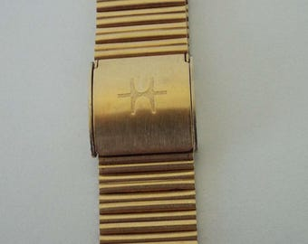 Vintage 1950's Hamilton Pacer Ventura Gold Tone Watch Strap Band Stainless Steel Back