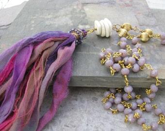 Long silk tassel necklace, fair trade recycled sari silk, eco friendly jewelry, long layering, bohemian jewelry, boho chic, purple tassel