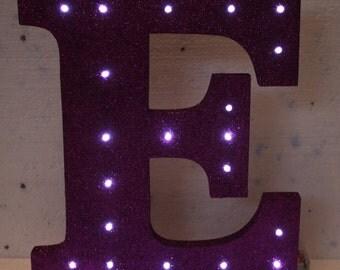 Largee Handmade Wooden Freestanding Letters With Lightt Up LED LIGHTS GLITTERED