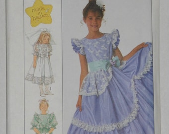 Girls Pageant Dress Sewing Pattern Size 8 Uncut Simplicity Ruffles Optional Petticoat Gown