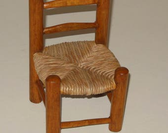 Miniature Small Doll Chair 6 Inch ladder back Cane Seat Wood Back