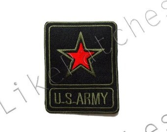 Red Star - U.S.ARMY - Black Patch - Sew / Iron on Patch Embroidered Applique Size 6cm.x7.6cm.