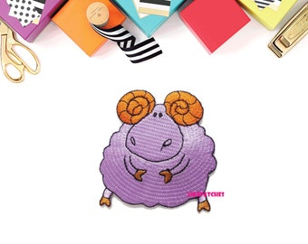 Violet Sheep Cartoon Cute Animal New Iron On Patch Embroidered Applique Size 6cm.x6.4cm.
