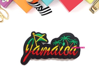 Jamaica Cute Patch New Sew / Iron On Patch Embroidered Applique Size 12.3cm.x6.8cm.