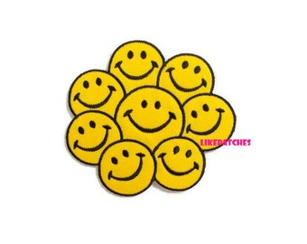 Smiley Face Iron On Patch Yellow Smiley Faces Patches Sew / Iron On Patches Embroidered Patch Iron On Appliques Cute Patches 8.8cm.x8cm.