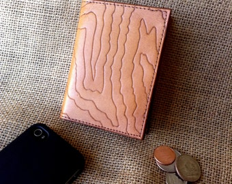 Leather Wallet - Small Leather Wallet - with topo map carving - tan
