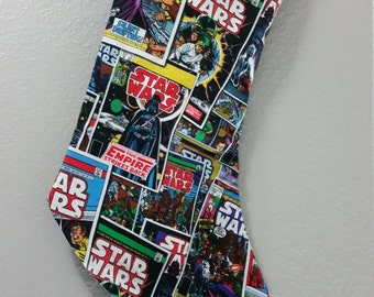 Stocking Made with Star Wars Comic Fabric, Nerdy Stocking, Gift for Nerds, Comic Stocking, Star Wars Fabric, Geek Stocking, Star Wars Gift