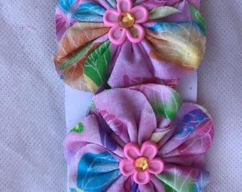 Pink Flower Hair Clip