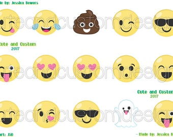 Emojis Bottle Cap Images- White Background-INSTANT DOWNLOAD- Digital Images- Bottle Cap Images- 1 Inch Circles- Silly Faces- Emojis