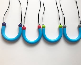 Chompy Sensory Tube Necklace-Blue