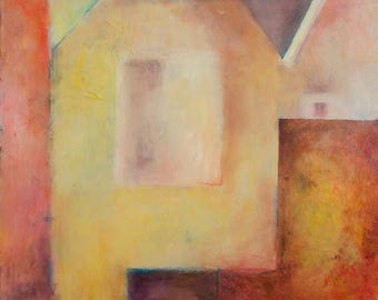 Abstract Painting in Yellow and Pink