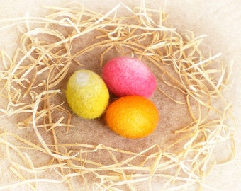 Easter Egg Ornaments, Three Needle Felted Easter Eggs, Easter Gift, Felted Wool Eggs, Pink, Yellow and Orange Eggs, Spring Decor
