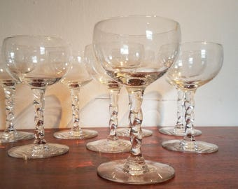 Set if 8 Cordial Glasses with twisted stem