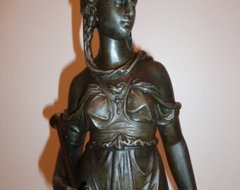 Antique French Neo Classical spelter sculpture of a musician Greco Roman lady c. 1890