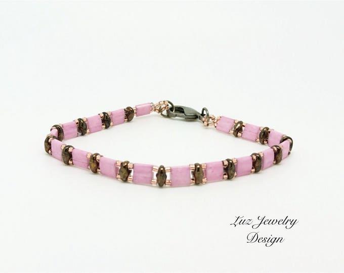 Flush bracelet, Tila pink bracelet, blush bracelet, pink bracelet, rose bracelet, pink jewelry, flush jewelry
