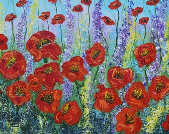 Red Poppy Field Original Painting, Highly textured acrylic painting, large 24x24 impressionism wall art, Palette knife painting