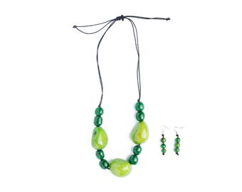 Green Tagua Necklace Set