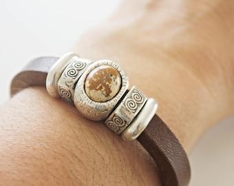 Graduation Mens Leather bracelet, MENS LEATHER BRACELET, Nordic jewelry, silver, Guy bracelet, mens leather, brown leather, mens gift