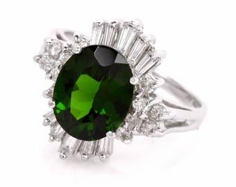 Estate Diamond Tormaline 18k White Gold Coktail Ring