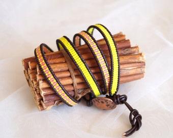 Wrap bracelet, Chan Luu bracelet, Chan Luu, byannagu, Leather cord bracelet, Delica bracelet, Yellow bracelet, Leather bracelet