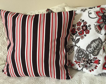 DECORATIVE PILLOW-Black Striped and Floral with zipper enclosure