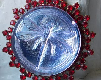 BIG XL Beautiful Vintage Czech Glass modern and Rhinestone button   Dragonfly   lavender   Red