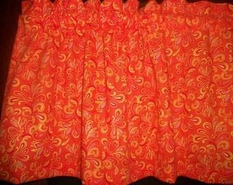 Orange Yellow Red Splash kitchen bedroom fabric window topper curtain Valance
