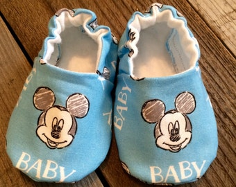 Baby Mickey Mouse booties, Mickey Mouse baby shoes, baby Mickey Mouse shoes