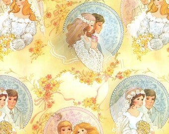 Vintage '70s Bride and Groom Gift Wrapping Paper Wedding Bridal Gift Wrap Groovy Retro Couples One Sheet