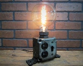 Industrial Desk Lamp - Industrial Phone Charger - Laptop Charger - Steampunk Office Decor - Charging Station- Spiral Edison Bulb
