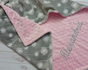 Personalized Baby Blanket, Pink and Gray Baby Blanket, Girl Baby Blanket, Girl Minky Blanket, Dandelion Cuddle, Double Minky Blanket