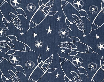Spaceships in Indigo, Jeans and Things Collection by David Walker for Free Spirit Fabrics 4242