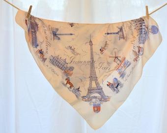 Mid Century Paris souvenir scarf, Eiffel Tower, Sacre Coeur, Opera...