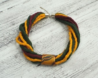 Hand felted necklace, green, yellow, claret