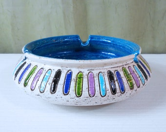Bitossi, Italy Large Ashtray with Multi-Color Oval Pattern and Blue Interior Glaze