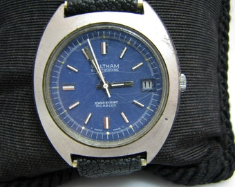 1970's Waltham Quartz Watch with Blue Dial and Date