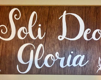 "Soli Deo Gloria, 12""x22"" wood sign"