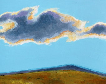 "Afternoon Cloud Original Landscape Painting Acrylic on Board 6""x6"""