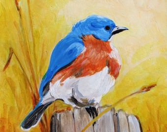 "Bluebird Blue Bird Original Bird Painting Acrylic on Board 4""x4"""
