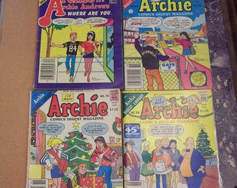 Lot of 10 vintage Archie Jughead Jones Betty and Veronica Jughead with Archie Comics Digest Magazines instant collection 1988 1987 1986 1984