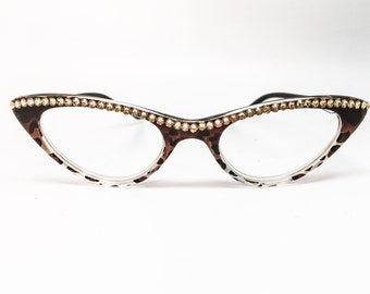 The Cat's Meow - Topaz (Reading Glass Frames with Swarovski Crystals)