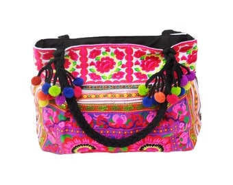 Embroidered Pom Pom Colorful Should Tote