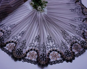 """2.2yards, Black coffee lace trim mesh lace trim lace curtain fabric lace headband fabric - ( yuan ) -about  7.8""""(20 cm) wide"""