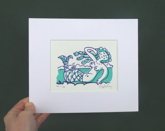 Limited edition handmade relief print, signed by Mike Levy small 'Little Green Mermaid'