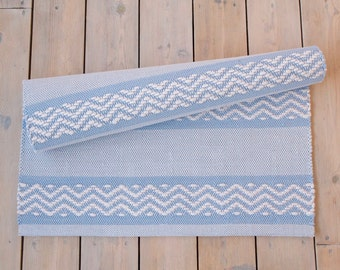 Handwoven rag rug, pale blue rag rug, Swedish ragrug
