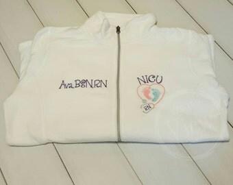 NICU Nurse Fleece Jacket with FootPrints Stethoscope -RN Lpn zipup light weight fleece jacket with several color options-GIGGLES