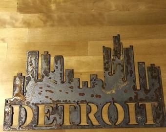 Rustic Detroit City Skyline Sign Home Wall Decor